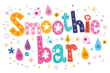 Smoothie bar text lettering decorative type