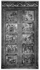 19th century engraving of ornate doors (Bunyan Gates), Bedford,