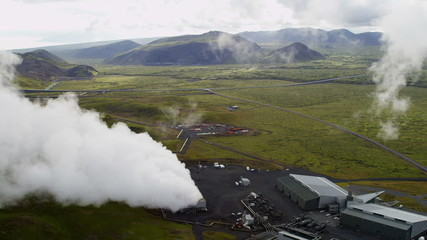 Aerial Underground Production Volcanic Geothermal Sustainable Power Iceland