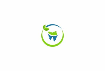 Dental, dentist, icon,fresh, tooth,leaf, logo