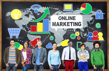 Online Marketing Internet Technology Global Team Concept