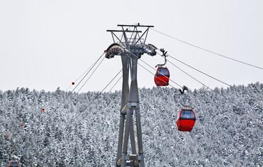 Ski lift in La Massana. Principality of Andorra