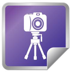 Camera with tripod sticker icon