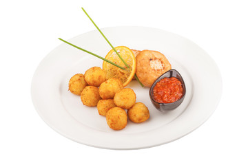 Fried Cheese Balls with meat cutlets