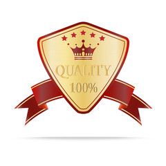 Luxury gold and red quality shields label