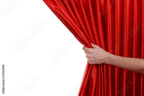 Leinwanddruck Bild Red Curtain on white background