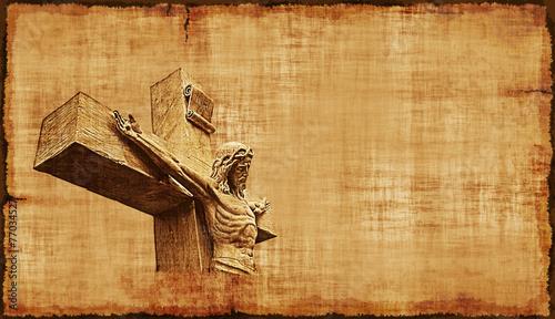 Zdjęcia na płótnie, fototapety, obrazy : Crucifixion of Jesus Parchment - Horizontal