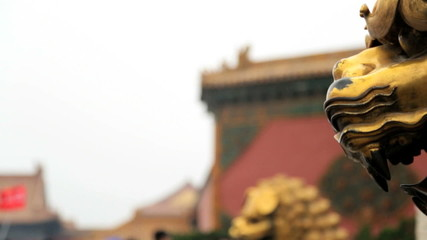 Close up Chinese Lion Statue Temple of Heaven Beijing China