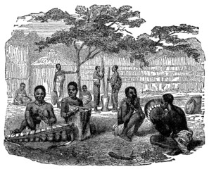 Victorian engraving of indigenous African musicians
