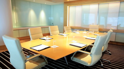 Indoors Modern Office Boardroom Conference Center No People