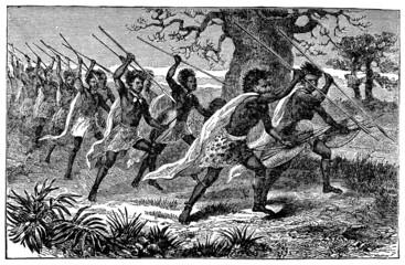 Victorian engraving of indigenous aAfrican warriors