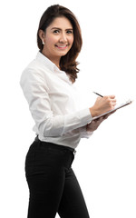 young pretty Business woman write on clipboard