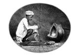 Victorian engraving of a    traditional goldsmith, India poster