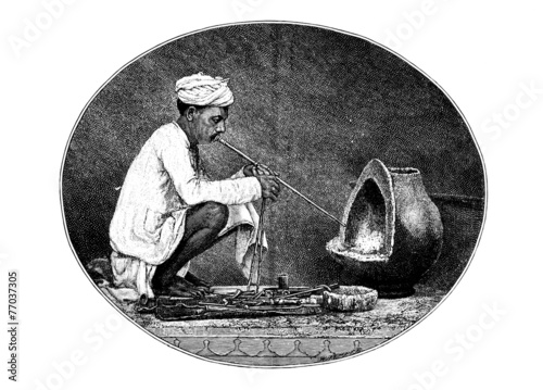 poster of Victorian engraving of a    traditional goldsmith, India