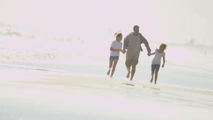 Happy Caucasian Father Girls Walking Outdoors Fall Beach