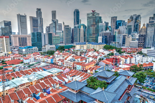 Fotobehang Singapore HDR Rendering of Singapore Chinatown and Skyline