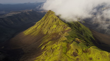 Aerial mountain region unpolluted wilderness volcanic tourism Iceland