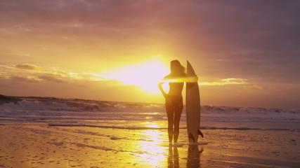 Solitary Caucasian Surfer Girl Waiting Waves Sunset