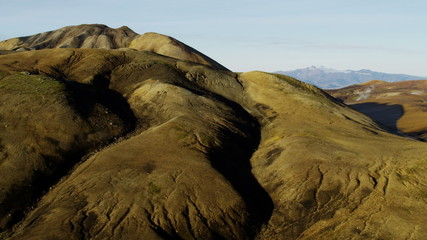 Aerial steam volcanic active area thermal energy Landmannalaugar Iceland