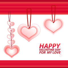 heart sign valentines day with rope knot isolated on white