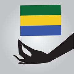 Hand with flag Gabon
