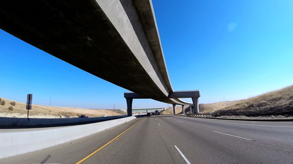 POV driving Freeway elevated Highway San Francisco California USA