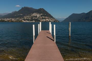 wooden jetty on lake Maggiore