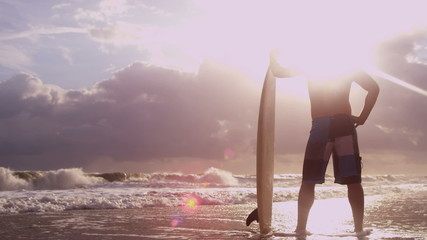 Ethnic Young Surfer Beach Sunrise Watching Waves