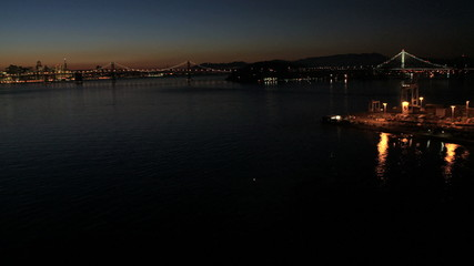 Aerial illuminated view San Francisco, Bay Bridge, USA