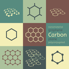 Vector carbon graphene nanomaterial chemical structure icon set