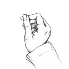 Hand hält etwas hoch