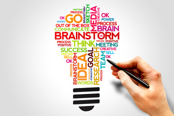 BRAINSTORM word cloud bulb, business concept