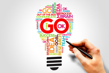 GO word cloud bulb, business concept