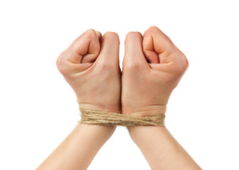 woman hands bound by rope or string isolated on white background