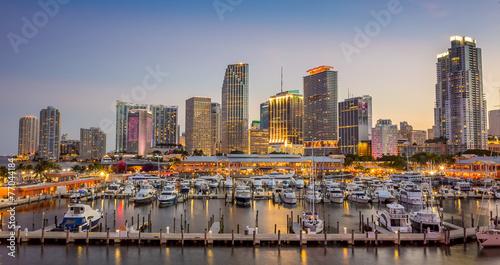 Plexiglas Brug Miami city skyline panorama at twilight