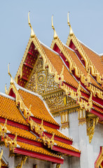 The roof of temple in the marble temple, Bangkok, Thailand