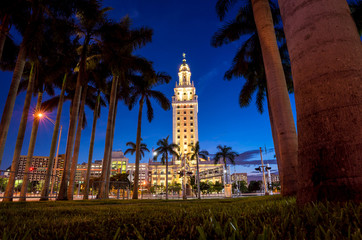 Freedom Tower at twilight in Miami