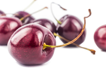 Close up on a group of cherries