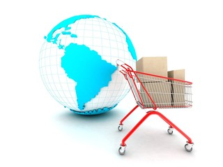 Shopping cart. 3d illustration