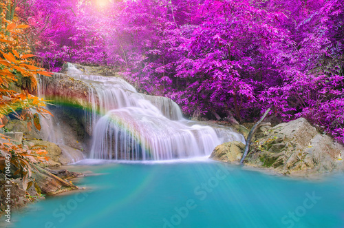 Fotobehang Watervallen Wonderful Waterfall with rainbows in deep forest at national par