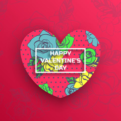 Valentine's day greeting card design with heart shape and floral