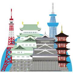Japanese Landmarks,castles. Tokyo,Kyoto,Nagoya.