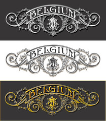 Vintage Belgium Label Banner, Withe, Black and Gold