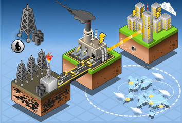 Isometric Infographic Petroleum Energy Harvesting Diagram