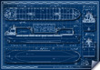 Orthogonal Blue Print of a Cargo Ship Vector - 77048142