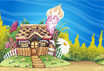 Fantasy Marzipan Sweets House Background