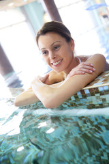 Woman relaxing in seawater spa pool