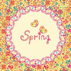 pattrent spring flowers, butterflies, birds