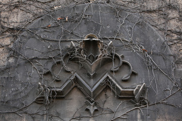 Old monogram M overgrown with climbing plants in Berlin, Germany