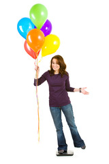 Casual: Woman Tries to Lose Weight By Holding Balloons